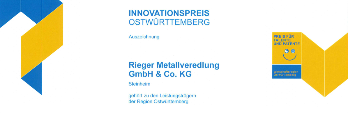 Rieger Metallveredlung Blog – Innovationspreis Ostwürttemberg 2019